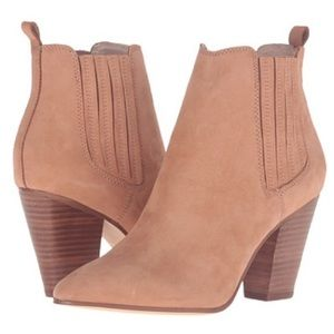 Also Khiara Heeled Leather Chelsea Booties Tan
